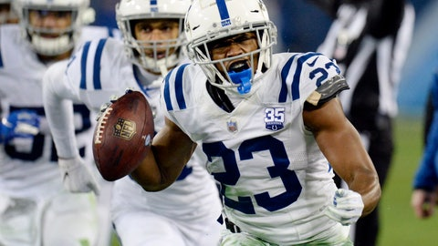 "<p>               FILE - In this Dec. 30, 2018, file photo, Indianapolis Colts cornerback Kenny Moore (23) celebrates after intercepting a pass against the Tennessee Titans in the second half of an NFL football game in Nashville, Tenn. Moore has agreed to a four-year contract extension with the Colts. He told reporters he was ""speechless"" following the Colts' final offseason workout Thursday, June 13, 2019. (AP Photo/Mark Zaleski, File)             </p>"