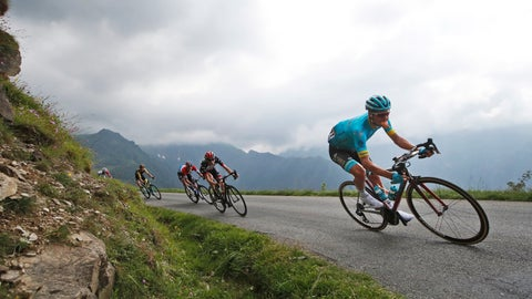 <p>               FILE - In this file photo dated Wednesday July 25, 2018, Denmark's Jakob Fuglsang speeds down Col de Val Louron-Azet pass during the seventeenth stage of the Tour de France cycling race in Saint-Lary-Soulan, France.  Danish rider Jakob Fuglsang won the Criterium du Dauphine stage race for the second time Sunday June 16, 2019, after keeping his overnight lead in Sunday's final stage. (AP Photo/Christophe Ena, FILE)             </p>