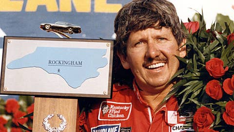 ROCKINGHAM, NC - MARCH 3, 1985:  Neil Bonnett scored the first of his two '85 wins, in the Carolina 500 at Rockingham, North Carolina. Bonnett passed Harry Gant to take the win on the final lap.  (Photo by ISC Archives via Getty Images)