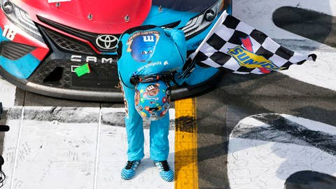 LONG POND, PENNSYLVANIA - JUNE 02: Kyle Busch, driver of the #18 M&M's Hazelnut Toyota, celebrates winning the Monster Energy NASCAR Cup Series Pocono 400 at Pocono Raceway on June 02, 2019 in Long Pond, Pennsylvania. (Photo by Jonathan Ferrey/Getty Images)