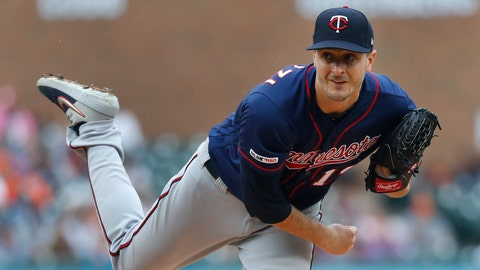 <p>               Minnesota Twins pitcher Jake Odorizzi throws against the Detroit Tigers in the first inning of a baseball game in Detroit, Sunday, June 9, 2019. (AP Photo/Paul Sancya)             </p>