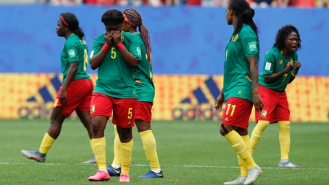 <p>               Cameron players react after a VAR decision that ruled out Cameroon's Ajara Nchout's goal for offside during the Women's World Cup round of 16 soccer match between England and Cameroon at the Stade du Hainaut stadium in Valenciennes, France, Sunday, June 23, 2019. (AP Photo/Michel Spingler)             </p>