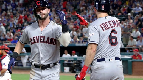 <p>               Cleveland Indians' Tyler Naquin, left, celebrates with Mike Freeman (6) after Naquin hit a solo home run off Texas Rangers' Drew Smyly during the seventh inning of a baseball game in Arlington, Texas, Tuesday, June 18, 2019. (AP Photo/Tony Gutierrez)             </p>