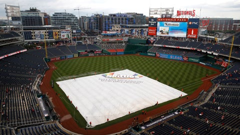 <p>               A tarp covers the infield during a rain delay before a baseball game between the Philadelphia Phillies and the Washington Nationals, Monday, June 17, 2019, in Washington. (AP Photo/Patrick Semansky)             </p>