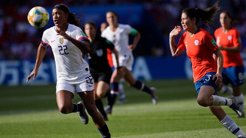 <p>               United States' Jessica Mcdonald, left, runs after the ball next to Chile's Carla Guerrero during the Women's World Cup Group F soccer match between United States and Chile at Parc des Princes in Paris, France, Sunday, June 16, 2019. (AP Photo/Alessandra Tarantino)             </p>