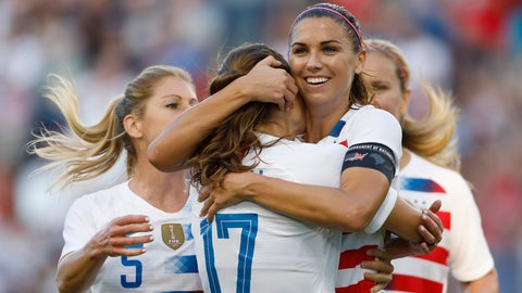 <p>               FILE - In this July 26, 2018, file photo, U.S. forward Alex Morgan, second from right, celebrates her hat trick with defender Tobin Heath (17) and other teammates during the second half of a Tournament of Nations soccer match against Japan in Kansas City, Kan. The Women's World Cup kicks off Friday, June 7, 2019, in Paris. Twenty-four teams will traverse France for the next month in pursuit of soccer's most prestigious trophy. (AP Photo/Colin E. Braley, File)             </p>