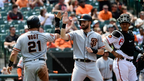<p>               San Francisco Giants' Stephen Vogt (21) celebrates with fielder Steven Duggar after scoring on an Evan Longoria two RBI double in the fifth inning of an interleague baseball game against the Baltimore Orioles, Sunday, June 2, 2019, in Baltimore. (AP Photo/Tommy Gilligan)             </p>