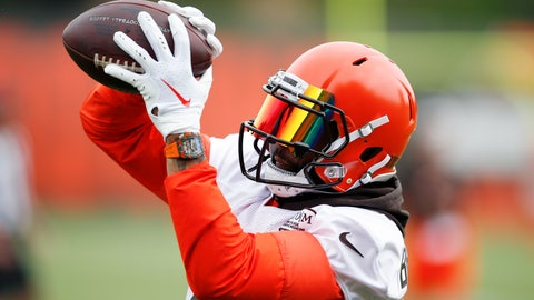 <p>               Cleveland Browns wide receiver Odell Beckham Jr. catches a pass during a drill at the team's NFL football training facility in Berea, Ohio, Tuesday, June 4, 2019. (AP Photo/Ron Schwane)             </p>
