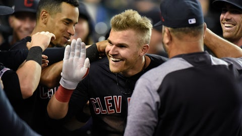 <p>               Cleveland Indians' Jake Bauers, center, is congratulated by teammates after hitting a two-run home run against the Detroit Tigers in the top of the eighth inning of a baseball game, Friday, June 14, 2019, in Detroit. (AP Photo/Jose Juarez)             </p>