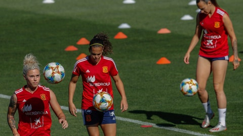 <p>               In this Tuesday, May 28, 2019, photo, Spain's women national soccer team train in Las Rozas, on the outskirts of Madrid, Spain. Spain's women players are hoping that a strong performance at the World Cup this month will give their sport a boost just at the moment when they are fighting for their basic rights as professional athletes. Women's soccer has experienced massive growth since the 2015 World Cup. (AP Photo/Bernat Armangue)             </p>