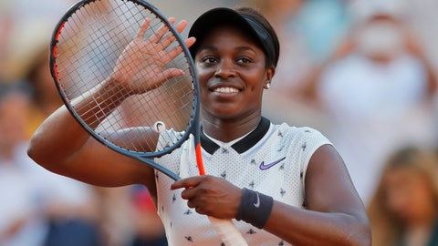 <p>               Sloane Stephens of the U.S. celebrates winning her fourth round match of the French Open tennis tournament against Spain's Garbine Muguruza in two sets, 6-4, 6-3, at the Roland Garros stadium in Paris, Sunday, June 2, 2019. (AP Photo/Michel Euler)             </p>