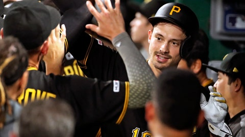 <p>               Pittsburgh Pirates' Bryan Reynolds, right, celebrates in the dugout after hitting a three-run home run off Detroit Tigers relief pitcher Nick Ramirez during the sixth inning of a baseball game in Pittsburgh, Wednesday, June 19, 2019. (AP Photo/Gene J. Puskar)             </p>