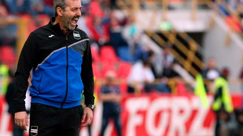 <p>               FILE - In this Saturday, April 20, 2019 file photo, Sampdoria head coach Marco Giampaolo shouts during a Serie A soccer match between Bologna and Sampdoria at the Dall'Ara stadium in Bologna, Italy. Former Sampdoria coach Marco Giampaolo has been named the new coach of AC Milan. Milan announced Wednesday, June 19, 2019 that Giampaolo signed a contract for the next two seasons with an option for a third season. (Giorgio Benvenuti/ANSA via AP, File )             </p>
