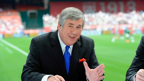 "<p>               In this June 2, 2013, photo provided by ESPN Images, Bob Ley talks during an international friendly soccer match in Washington, D.C. Ley, an anchor at ESPN since the network's launch 40 years ago, has announced his retirement. Ley was ESPN's longest-tenured anchor, joining ""SportsCenter"" on the channel's third day of operation on Sept. 9, 1979. He hosted ""Outside The Lines,"" an investigative news program, from its launch in 1990 until he took a sabbatical last September. The 64-year-old Ley tweeted Wednesday, June 26, 2019, that he's enjoying the ""best of health"" and that the decision to retire was ""entirely"" his own. (Allen Kee/ESPN Images via AP)             </p>"
