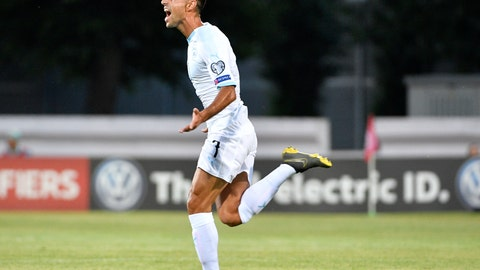 <p>               Israel's Eran Zahavi celebrates after he scored goal during their Euro 2020 group G qualifying soccer match between Latvia and Israel in Riga, Latvia, Friday, June 7, 2019. (AP Photo/Roman Koksarov)             </p>