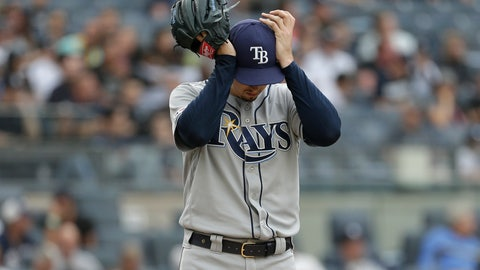<p>               Tampa Bay Rays starting pitcher Blake Snell reacts during the first inning of a baseball game against the New York Yankees at Yankee Stadium, Wednesday, June 19, 2019, in New York. (AP Photo/Seth Wenig)             </p>