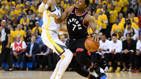 <p>               Toronto Raptors guard Kyle Lowry (7) tries to move around Golden State Warriors guard Shaun Livingston during the second half of Game 3 of basketball's NBA Finals, Wednesday, June 5, 2019, in Oakland, Calif. (Frank Gunn/The Canadian Press via AP)             </p>