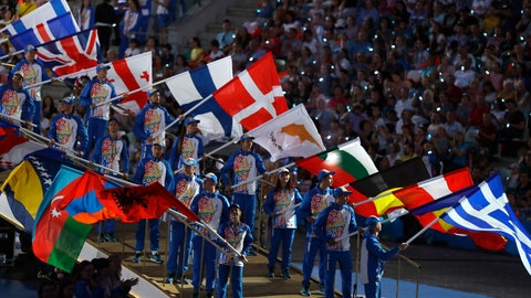 <p>               Flag bearers are seen during the closing ceremony of the second European Games in Minsk, Belarus, Sunday, June 30, 2019. (AP Photo/Sergei Grits)             </p>