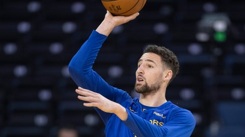 <p>               Golden State Warriors' Klay Thompson shoots at practice for the NBA Finals in Oakland on Wednesday, June 12, 2019. The Warriors are scheduled to play the Toronto Raptors in Game 6 of basketball's NBA Finals on Thursday. (Frank Gunn/The Canadian Press via AP)             </p>