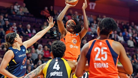 <p>               FILE - In this May 28, 2019, file photo, Connecticut Sun center Jonquel Jones shoots over the Indiana Fever defense during a WNBA basketball game, in Uncasville, Conn. Led by Jones, the Sun (8-1) have won their last six games and have started to put a little distance between themselves and the rest of the league. (Sean D. Elliot/The Day via AP, File)             </p>