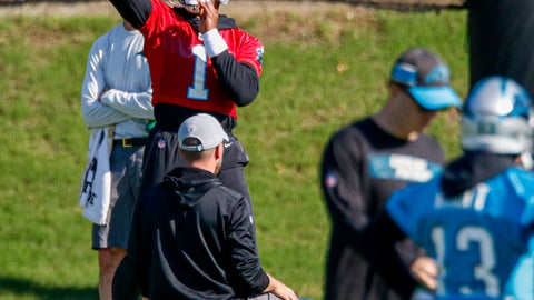 <p>               Carolina Panthers quarterback Cam Newton passes during an NFL football team practice in Charlotte, N.C., Tuesday, June 11, 2019. (AP Photo/Nell Redmond)             </p>