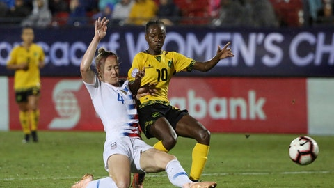 <p>               FILE - In this Oct. 14, 2018, file photo, United States defender Becky Sauerbrunn, left, defends against Jamaica forward Jody Brown during the second half of a CONCACAF women's World Cup qualifying tournament soccer match in Frisco, Texas. Sauerbrunn, the veteran center back, is about to embark on her third Women's World Cup. The United States is the defending champion of soccer's premier tournament, which kicks off Friday, June 7, 2019, in Paris. Sauerbrunn anchors a back line that has changed significantly since the group won in Canada four years ago. (AP Photo/Andy Jacobsohn, File)             </p>