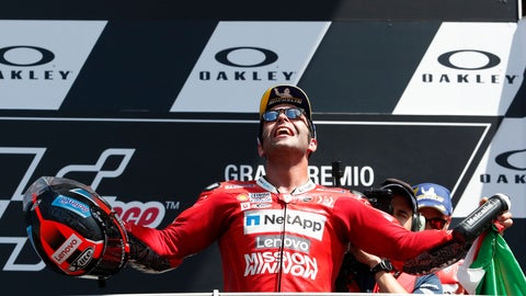 <p>               Italy's Danilo Petrucci celebrates winning the MotoGP Grand Prix of Italy at the Mugello circuit, in Scarperia, Italy, Sunday, June 2, 2019. (AP Photo/Antonio Calanni)             </p>