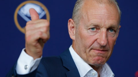 <p>               Buffalo Sabres head coach Ralph Krueger give a thumbs up during an  NHL hockey introductory press conference Wednesday, June 5, 2019, in Buffalo N.Y. (AP Photo/Jeffrey T. Barnes)             </p>