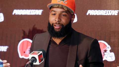 <p>               FILE- In this April 1, 2019, file photo, Cleveland Browns' Odell Beckham answers questions during a news conference in Berea, Ohio. Beckham reported for Cleveland's mandatory minicamp and will practice Tuesday, June 4, 2019, after missing most of the team's voluntary workouts. The star wide receiver has been away from the team and training in California. (AP Photo/Ron Schwane, File)             </p>