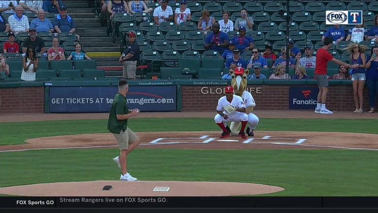 Baylor's Charlie Brewer Throws out First Pitch at Rangers Game