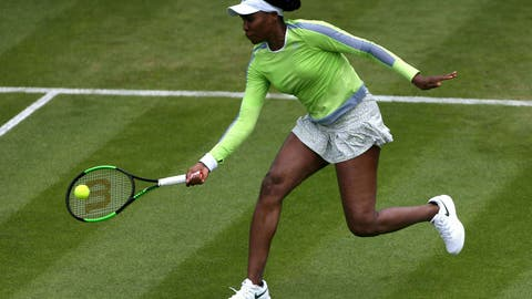 <p>               Venus Williams of the US returns a shot to Belarus' Aliaksandra Sasnovich, during day five of the Birmingham Classics, at Edgbaston Priory Club, in Birmingham, England, Wednesday June 19, 2019. (Zac Goodwin/PA via AP)             </p>