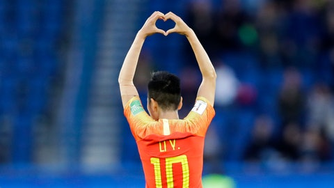 <p>               China's Li Ying celebrates after scoring the opening goal during the Women's World Cup Group B soccer match between China and South Africa at Parc des Princes in Paris, France, Thursday, June 13, 2019. (AP Photo/Alessandra Tarantino)             </p>