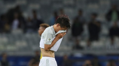 <p>               Japan's Daiki Sugioka reacts at the end of a Copa America Group C soccer match against Ecuador at the Mineirao stadium in Belo Horizonte, Brazil, Monday, June 24, 2019. Japan and Ecuador draw 1-1 and are eliminated from the tournament. (AP Photo/Ricardo Mazalan)             </p>