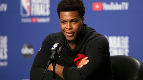 <p>               Toronto Raptors' Kyle Lowry speaks to the media following practice in Toronto on Sunday, June 9, 2019, ahead of Monday's game five of the NBA Finals against the Golden State Warriors. (Chris Young/The Canadian Press via AP)             </p>