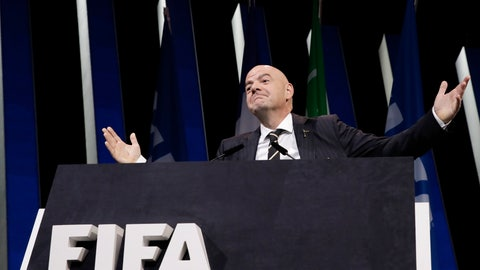 <p>               FIFA President Gianni Infantino gestures as he walks on the stage before the start of the 69th FIFA congress in Paris, Wednesday, June 5, 2019. (AP Photo/Alessandra Tarantino)             </p>