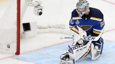 <p>               A shot by Boston Bruins' Brandon Carlo gets past St. Louis Blues goaltender Jordan Binnington (50) for a goal during the third period of Game 6 of the NHL hockey Stanley Cup Final Sunday, June 9, 2019, in St. Louis. (AP Photo/Scott Kane)             </p>