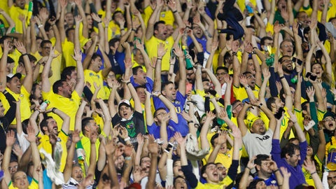 <p>               Fans cheer during a Copa America Group A soccer match between Brazil and Bolivia at the Morumbi stadium in Sao Paulo, Brazil, Friday, June 14, 2019. (AP Photo/Victor Caivano)             </p>