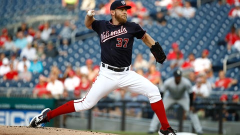 <p>               Washington Nationals starting pitcher Stephen Strasburg throws to the Chicago White Sox in the first inning of an interleague baseball game, Tuesday, June 4, 2019, in Washington. (AP Photo/Patrick Semansky)             </p>