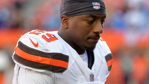 """<p>               FILE - In this Oct. 14, 2018, file photo, Cleveland Browns running back Duke Johnson walks off the field after the Chargers defeated the Browns 38-14 during an NFL football game in Cleveland. Browns running back Duke Johnson says he still wants to be traded. Johnson, who demanded to be dealt in the offseason after Cleveland signed free agent Kareem Hunt, said he only wants to be """"somewhere I'm wanted,"""" Tuesday, June 4, 2019.  (AP Photo/David Richard, File)             </p>"""
