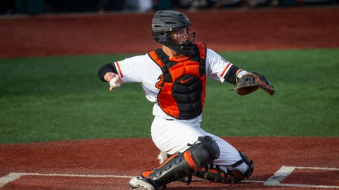 <p>               FILE - In this April 26, 2019, file photo, Adley Rutschman catches for Oregon State during an NCAA college baseball game against Washington State in Corvallis, Ore. The Baltimore Orioles lead off the Major League Baseball Draft for the first time in 30 years and Oregon State catcher Adley Rutschman is a heavy favorite to be selected No. 1 on Monday night, June 3, 2019. (AP Photo/Chris Pietsch, File)             </p>