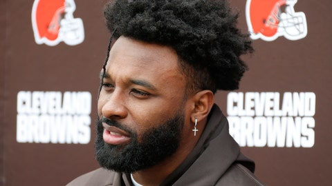 """<p>               FILE - This is a June 4, 2019, file photo, showing Cleveland Browns wide receiver Jarvis Landry answering questions at the team's NFL football training facility in Berea, Ohio. Landry called reports about teammates being upset with quarterback Baker Mayfield for harsh comments toward running back Duke Johnson """"a non-issue."""" Landry hosted his football camp on Friday, June 14, 2019, at Shaker Heights High School under gorgeous, blue skies. The four-time Pro Bowler said he believes Mayfield and Johnson will be able to work together. (AP Photo/Ron Schwane, File)             </p>"""