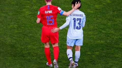 <p>               Thailand's Orathai Srimanee congratulates United States' Megan Rapinoe, left, after their Women's World Cup Group F soccer match between the United States and Thailand at the Stade Auguste-Delaune in Reims, France, Tuesday, June 11, 2019. The US defeated Thailand 13-0.(AP Photo/Francois Mori)             </p>