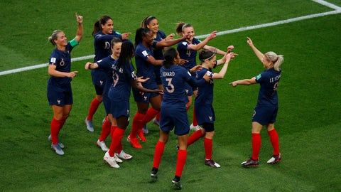 <p>               France's Eugenie Le Sommer, right, celebrates with her teammates after scoring her side's opening goal during the Women's World Cup Group A soccer match between France and South Korea, at the Parc des Princes in Paris, Friday, June 7, 2019. (AP Photo/Francois Mori)             </p>