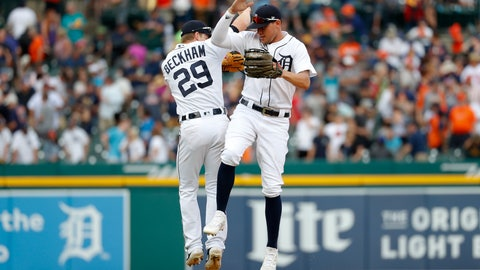 <p>               Detroit Tigers' JaCoby Jones, and Gordon Beckham (29) celebrate after the final out in the ninth inning of a baseball game against the Minnesota Twins in Detroit, Saturday, June 8, 2019. Detroit won 9-3. (AP Photo/Paul Sancya)             </p>
