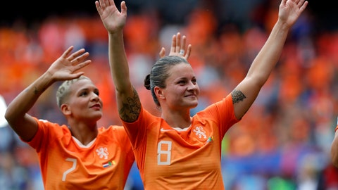 <p>               Netherlands' Shanice Van De Sanden, left, and Netherlands' Sherida Spitse, right, celebrate after the Women's World Cup Group E soccer match between the Netherlands and Cameroon at the Stade du Hainaut in Valenciennes, France, Saturday, June 15, 2019. The Netherlands defeated Cameroon by 3-1. (AP Photo/Michel Spingler)             </p>
