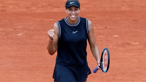 <p>               Madison Keys of the U.S. celebrates winning her fourth round match of the French Open tennis tournament against Katerina Siniakova of the Czech Republic in two sets, 6-2, 6-4, at the Roland Garros stadium in Paris, Monday, June 3, 2019. (AP Photo/Pavel Golovkin)             </p>