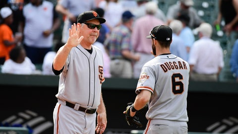<p>               San Francisco Giants manager Bruce Bochy high fives Steven Duggar (6) after an interleague baseball game against the Baltimore Orioles , Sunday, June 2, 2019, in Baltimore.  The Giants beat the Orioles 8-1. (AP Photo/Tommy Gilligan)             </p>