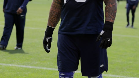 <p>               Seattle Seahawks guard Mike Iupati walks off the field following an organized team activity, Thursday, June 6, 2019, at the team's NFL football training facility in Renton, Wash. (AP Photo/Ted S. Warren)             </p>