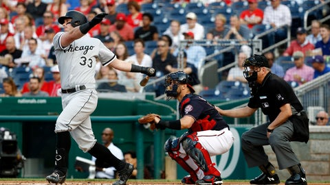 <p>               Chicago White Sox's James McCann, left, singles in front of Washington Nationals catcher Yan Gomes and umpire Mike Everitt in the first inning of an interleague baseball game, Tuesday, June 4, 2019, in Washington. Yoan Moncada scored on the play. (AP Photo/Patrick Semansky)             </p>
