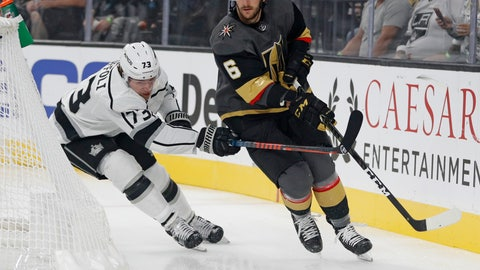 <p>               FILE - In this Sept. 28, 2018, file photo, Vegas Golden Knights defenseman Colin Miller (6) skates around Los Angeles Kings right wing Tyler Toffoli during the first period of a preseason NHL hockey game in Las Vegas. A person with direct knowledge of the move tells The Associated Press that the Buffalo Sabres have acquired Miller from the Golden Knights for a pair of draft picks. The Golden Knights acquired a second-round pick in the 2021 draft and a 2022 fifth-round selection. The person spoke Friday, June 28, on the condition of anonymity because the trade had not yet been announced. (AP Photo/John Locher, File)             </p>